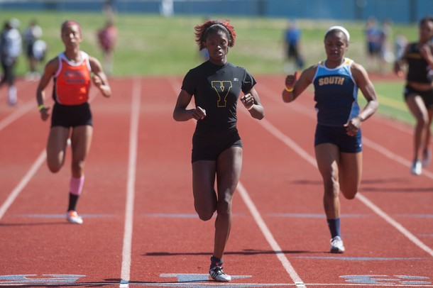 Ypsilanti's Endia Francois during the girls 200 meter dash at the Golden Triangle boys and girls track meet at Saline High School Friday, May 3.