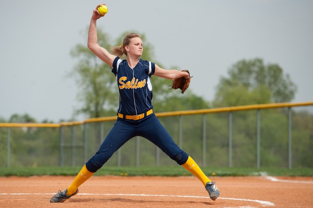 Saline's pitcher Kristina Zalewski throws the ball during their double header against Lincoln, Thursday May 9.