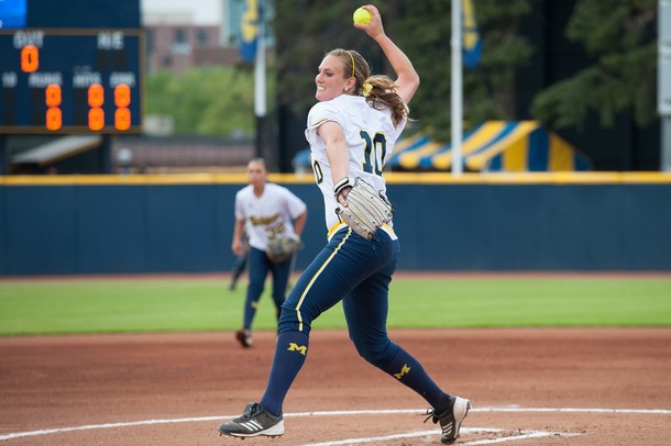 Wolverines sophomore Sara Driesenga pitches the ball during the first inning of their game against Valparaiso Friday May 17.