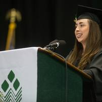 2013 graduate Meaghan Cox address her graduating class during WCC's commencement ceremony Saturday May 18.