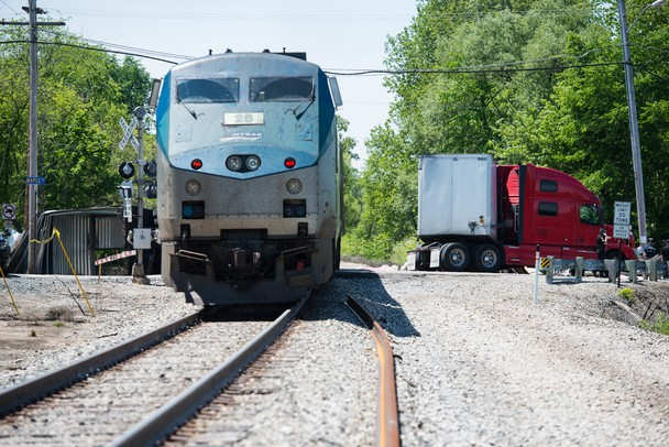 An Amtrak train collided with a semitrailer at a crossing on North Maple Road and Huron River Drive in Ann Arbor Township, Saturday, May 25.