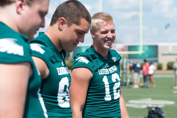 Eastern Michigan quarterback Tyler Benz during media day at Rynearson Stadium, Sunday, August, 18.