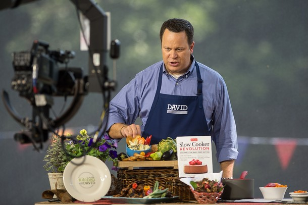 Images from the live broadcast of QVC\'s \'In the Kitchen with David ...