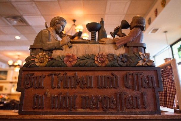 John Metzger's grandfather brought this carving back from Germany in 1938. It decorates Metzger's.