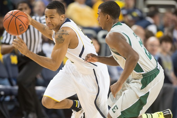 Wolverines sophomore Trey Burke drives the ball down the court during Thursday nights game against Eastern Michigan.