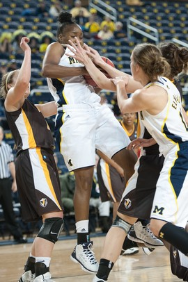 Wolverines Nya Jordan makes a rebound during Thursday's game against Valparaiso.