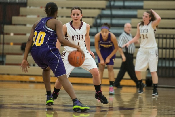 Dexter's Makenzie Svihra guards Ypsilanti's Julana Dukes during their game Friday, Jan. 11.