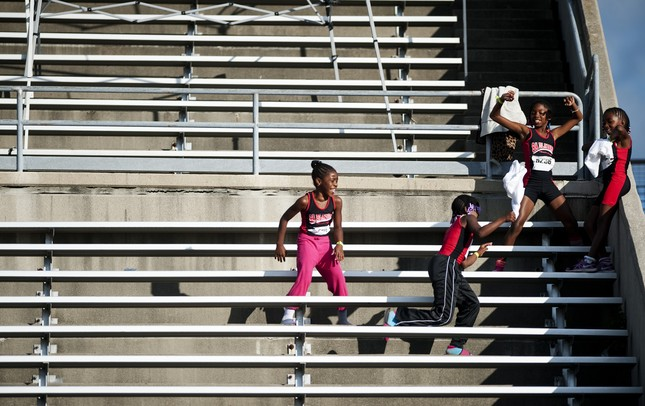 Spectators play at the EMU Rynearson Stadium during the opening ceremonies for the AAU Junior Olympic track competition on Monday, July 29. Daniel Brenner I AnnArbor.com