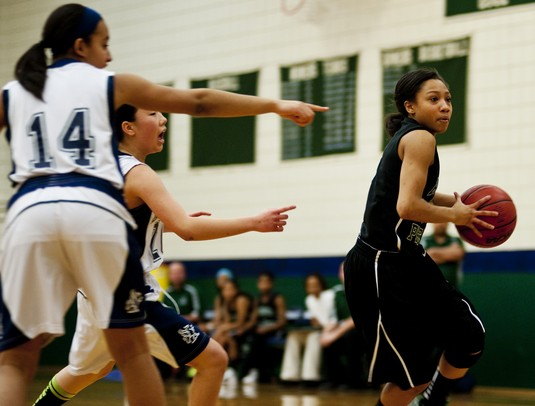 Arbor Prep High School Zakiya Wells drives pass the Green Hills defense on Monday, Feb. 11. Arbor Prep won 74-34. Daniel Brenner I AnnArbor.com