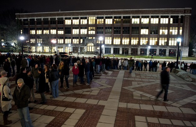 A long line of audience members wait to enter Hill Auditorium for The Avett Bothers show on Tuesday, Feb. 12. Daniel Brenner I AnnArbor.com