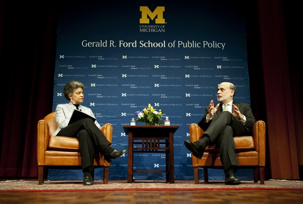 Joan and Sanford Weill Dean of Public Policy Susan Collins and Chairman of the U.S. Federal Reserve System Ben Bernanke have a conversation on the topics of monetary policy, the financial crisis and long-term challenges at Rackham Auditorium on Monday, Jan. 14. Daniel Brenner I AnnArbor.com