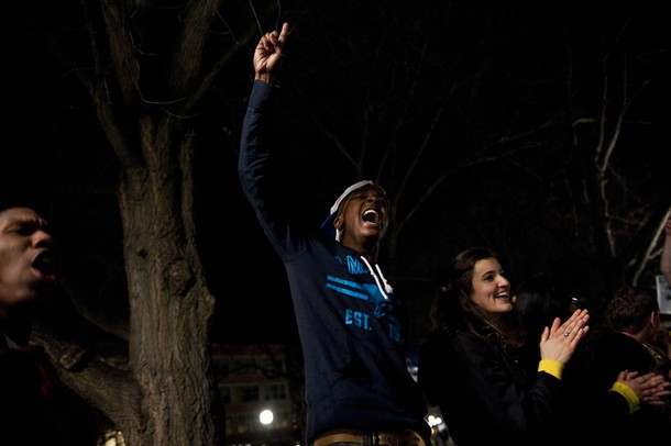 Michigan fans celebrate the 61-56 Final Four victory over Syracuse in the on the Diag on Saturday, April 6. Daniel Brenner I AnnArbor.com