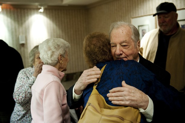 Glenn Dickerson welcomes his daughter-in-law Vonda Dickerson to his award ceremony at Weber's in Ann Arbor on Tuesday. Glenn is being awarded with the Knight of the Legion of Honor for his efforts in World War II. Daniel Brenner I AnnArbor.com