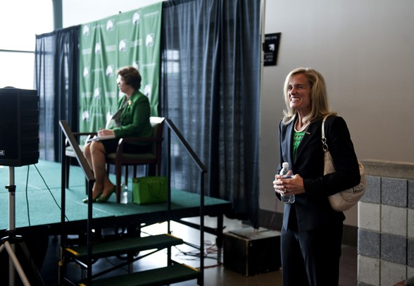 Heather Lyke stands at the EMU Convocation Center before the press conference on Monday, July 1. Daniel Brenner I AnnArbor.com