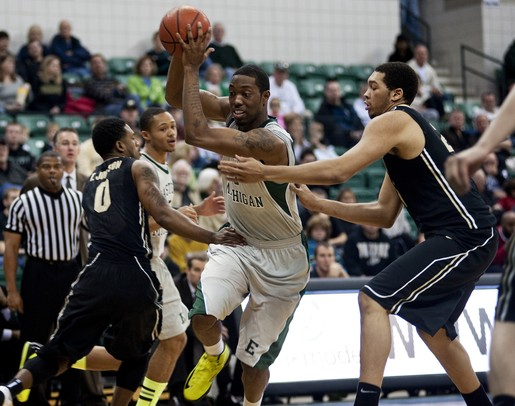 EMU junior Da'Shonte Riley maneuvers around Purdue defenders in the game on Saturday. Eastern Michigan won 47-44. Daniel Brenner I AnnArbor.com