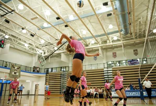 Skyline High School junior Sophie Bolz prepares to spike against Ann Arbor Huron on Tuesday. Skyline lost in four games. Daniel Brenner I AnnArbor.com