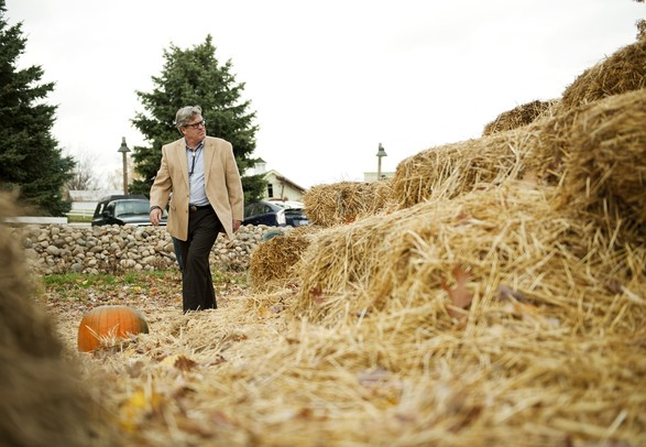 Judge Timothy Connors walks around Jenny's Market straw maze west of Dexter on Friday. Webster Township officials and lawyers would like to shut down the maze claiming it is a public nuisance and a safety hazard. Daniel Brenner I AnnArbor.com