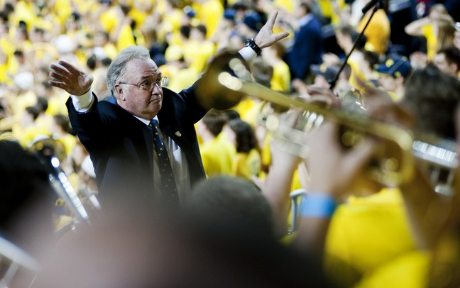 Michigan Alumni Pep Band director John Wilkins conducts during the game against Indiana on Sunday, March 10. Daniel Brenner I AnnArbor.com