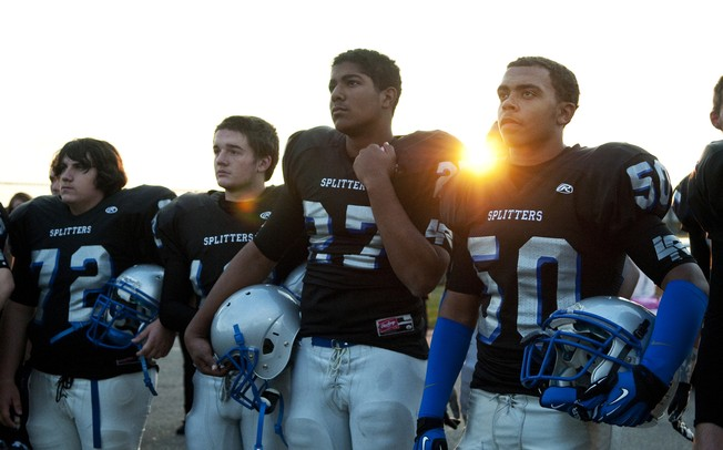 Lincoln High School football players prior to taking the field against Chelsea on Friday. Daniel Brenner I AnnArbor.com