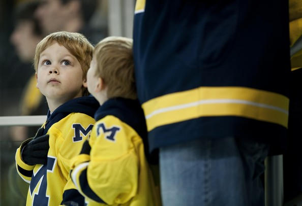 Aron Novesky, four, during the National Anthem before the game between Michigan and Miami of Ohio on Saturday. Daniel Brenner I AnnArbor.com