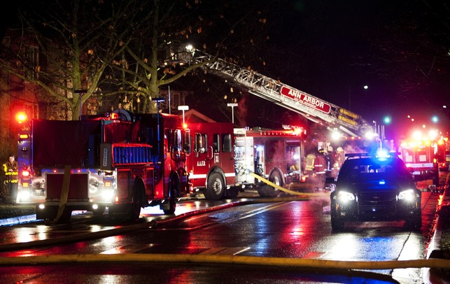 The scene of a fire at 1310 Packard Street on Sunday, Jan. 13. The structure is an apartment building. Daniel Brenner I AnnArbor.com