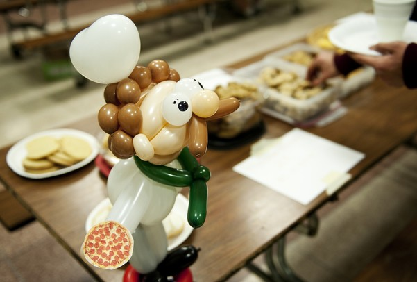 A balloon creation sits on a table at Huron High School during the all you can eat pizza fundraiser on Friday. The event was coordinated though the school's Youth Impact club and the proceeds are donated to the Take Heart Association. Daniel Brenner I AnnArbor.com