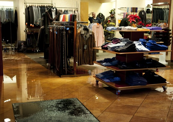 The floor is flooded after sprinklers were set off at Renaissance in Ann Arbor on Tuesday. Daniel Brenner I AnnArbor.com