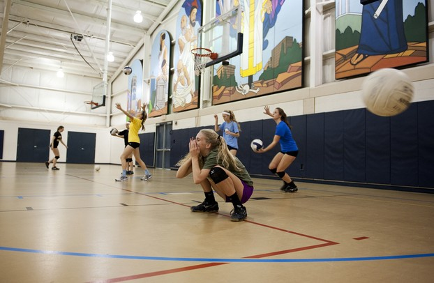 Rudolf Steiner senior Abby Andrews reacts to a serve during volleyball practice at St Paul Lutheran on Monday. Daniel Brenner I AnnArbor.com