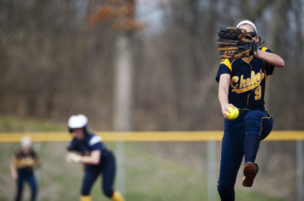 Chelsea high School pitcher Rylee Rosentreter pitches in the first game against Saline on Monday, April 29. Daniel Brenner I AnnArbor.com
