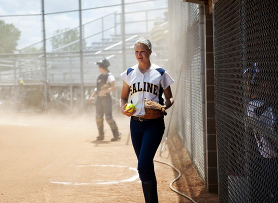 Saline pitcher Kristina Zalewski prepares to warm up on the infield before the game against Allen Park on Saturday, June 8. Daniel Brenner I AnnArbor.com