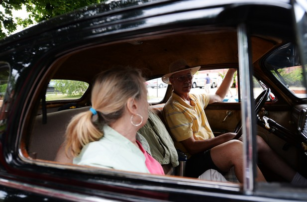 Scott and Martha Shumaker sits in their 1947 Chevy Stylemaster during the Chelsea Sounds and Sights on Friday, July 26. Daniel Brenner I AnnArbor.com