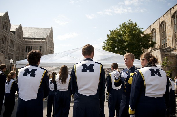 The Michigan marching band prepares to perform before the ceremonial ribbon cutting to South Hall on Friday. South Hall is the latest addition to the University of Michigan Law School. Daniel Brenner I AnnArbor.com