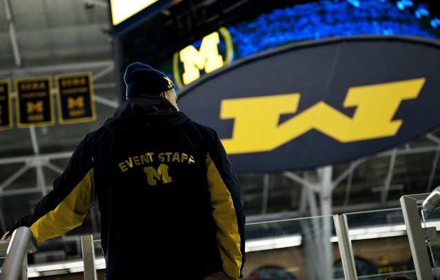 An usher watches warmups before the game between Michigan and Ferris State at Yost Ice Arena on Friday, Mar. 1. Daniel Brenner I AnnArbor.com