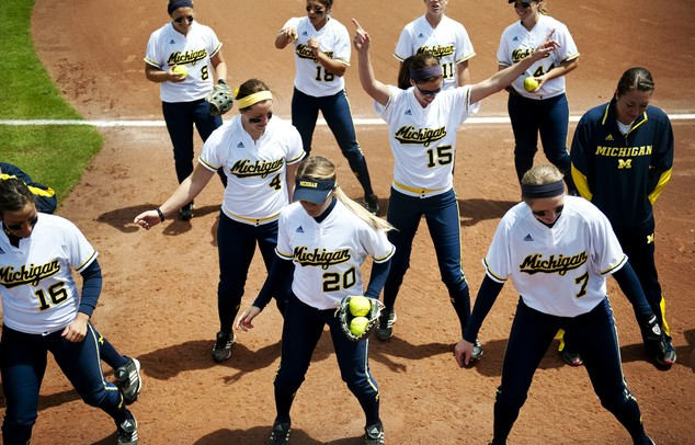 The Michigan softball team dances before the game against Louisiana-Lafayette on Friday, May 24. Daniel Brenner I AnnArbor.com