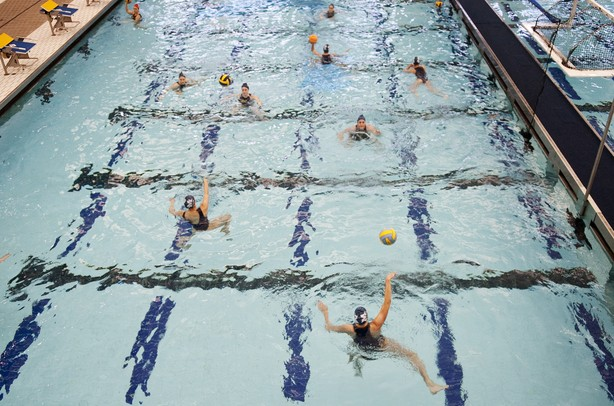 The Michigan warms up before the game against Indiana on Saturday, April 27. Daniel Brenner I AnnArbor.com