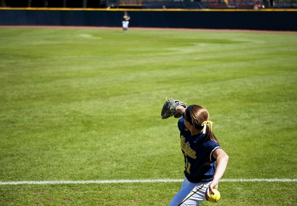 Michigan junior Lyndsay Doyle warms up before the first game against Louisiana-Lafayette on Saturday, May 25. Daniel Brenner I AnnArbor.com