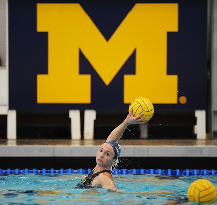 Michigan senior Katie Hazelrigg warms up before the game against Brown on Friday, April 26. Daniel Brenner I AnnArbor.com
