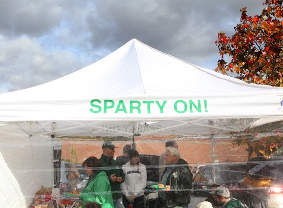 Michigan State fans tailgate prior to the Michigan and Michigan State football game Saturday October 15, 2011 at Spartan Stadium.  Jeff Sainlar I AnnArbor.com
