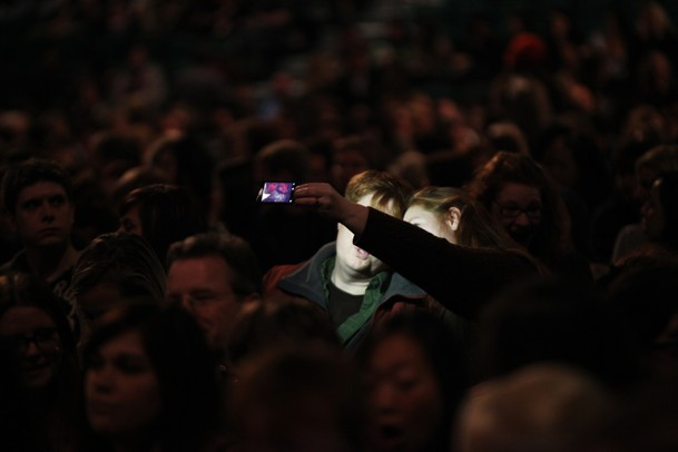 Fans take a photo of themselves before Russell Brand performed at the Eastern Michigan University Convocation  Center Wednesday November 16, 2011. Jeff Sainlar I AnnArbor.com