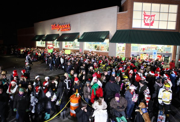 Hundreds of people lined up outside Walgreens as Ellen DeGeneres and Walgreens teamed up to put on a Toys for Tots event Thursday, Dec. 8, 2011 at the Walgreens on Jackson Ave. in Ann Arbor. Jeff Sainlar I AnnArbor.com
